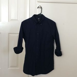 Uniqlo NWOT Navy Long Sleeve Slim Fit Oxford Shirt
